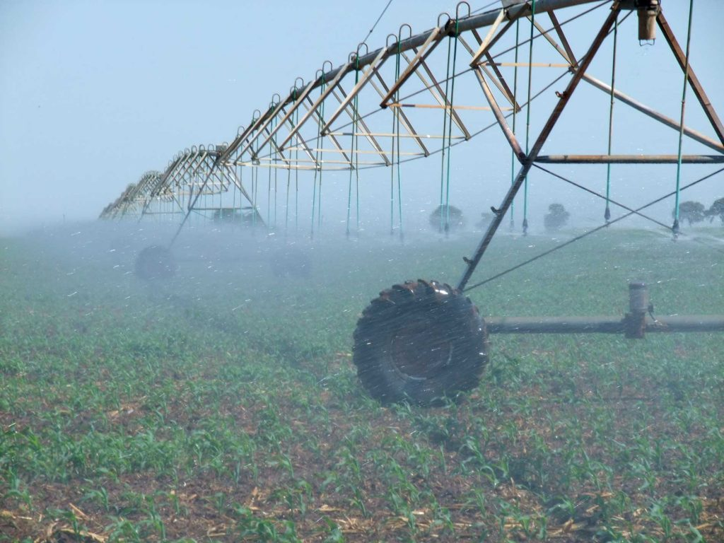 water spraying on fields